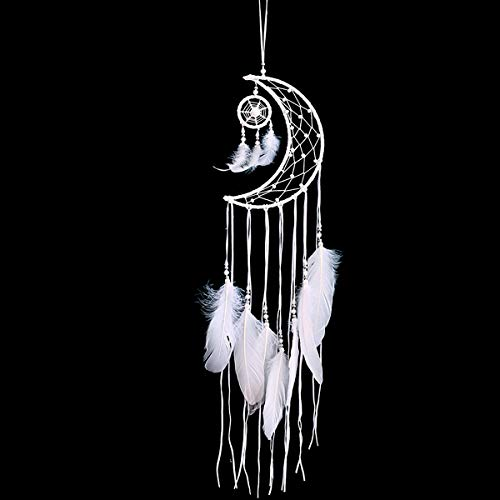 (MRJO White Dream Catcher Handmade Half Circle Moon Design Dream Catcher Feather Hanging Home Decoration Ornament Party Gift (White))