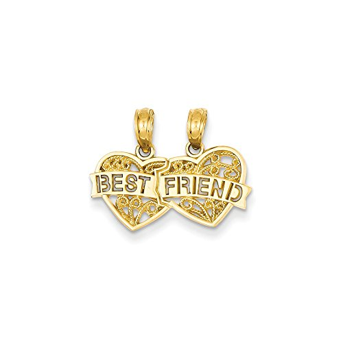 14K Gold Best Friend Breakable Double Hearts Pendant (0.59 in x 0.75 in)