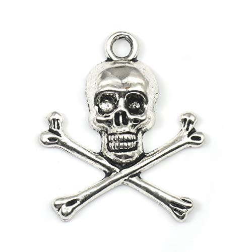 Skull and Crossbones Charm Pendants 45 Pack, DIY Crafts, About 1 Inch, Jewelry Making (Charm Motorcycle)