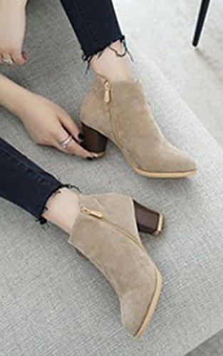 Femme Bottines Beige Cheville Chic Boots Noeud Bloc Talon Aisun À Low azdqRUaw