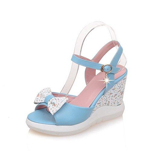 AmoonyFashion Womens Open-Toe Buckle PU Assorted Color High-Heels Sandals Blue Ml9MS0IY