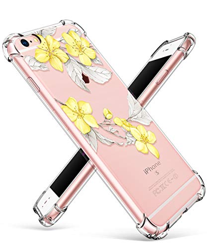 GVIEWIN Compatible for iPhone 6/6s Case, Clear Flower Pattern Design Soft & Flexible TPU Ultra-Thin Shockproof Transparent Floral Cover, Cases iPhone 6/6s (Yellow Flowers/White)