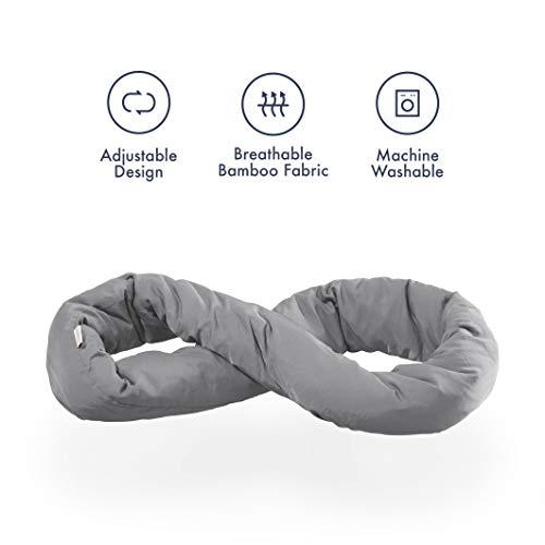 Huzi Infinity Pillow – Home Travel Soft Neck Scarf Support Sleep (Grey)
