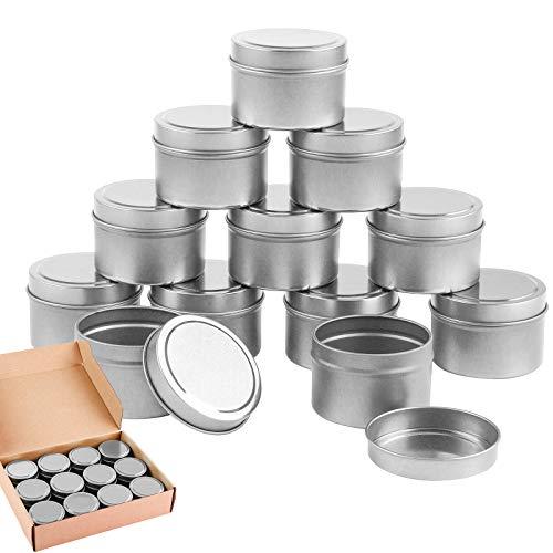 Pack de 12 latas plateadas con tapa para velas