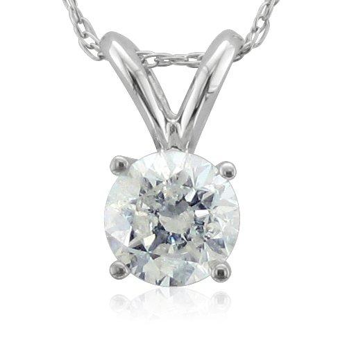 14k White Gold Solitaire Diamond Pendant Necklace (HI, I2-I3, 0.50 carat)