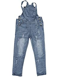 12fd1fa7cf1a Girls Kids Jeans Adjustable Strap Ripped Holes Denim Overalls Jumpsuits  Pants
