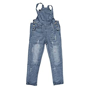 Abalacoco Girls Kids Jeans Adjustable Strap Ripped Holes Denim Overalls Jumpsuits Pants