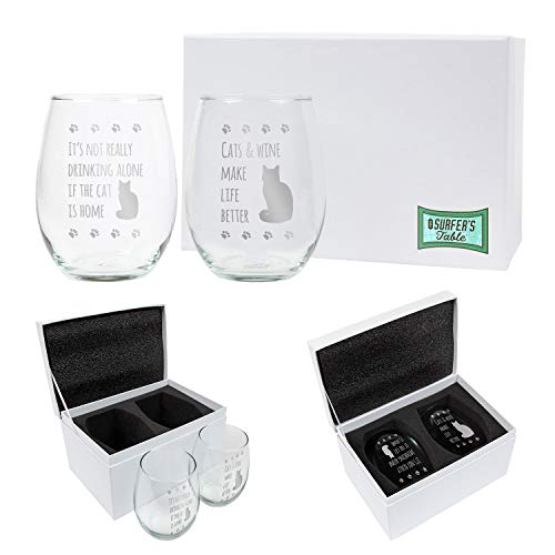 It's Not Really Drinking Alone if the Cat is Home + Cats and Wine Make Life Better Wine Glass Gift Set, 2 - 21oz Etched Stemless Wine Glasses Packed in a Stylish Gift Box, Perfect Cat Lovers Gift (In Glass Cat Wine A)
