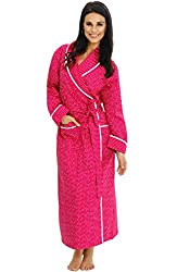 Alexander Del Rossa Womens Lightweight Woven Cotton Robe Soft Summer House Coat Small Pink Red With Polka Dots A0515p47sm