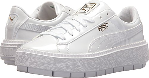- PUMA Women's Basket Platform Trace Sneakers, White, 9 M US