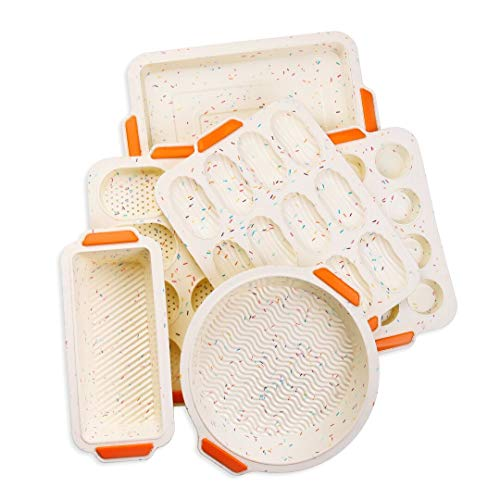Meichu Non-stick Bake Molds Silicone Bakeware Set of 6, 1 Silicone Muffin Pan 12 Cup, 1 Madeleine Pan 12 cup, 1 Baguette Pan 8 cup, 1 Toast Loaf Pan, 1 Round Cake Pan and 1 Square Cake Pan (Colorful)