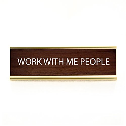 """Enesco """"Work with Me"""" Funny Aluminum Desk Name Plate, - Careers Alloy"""