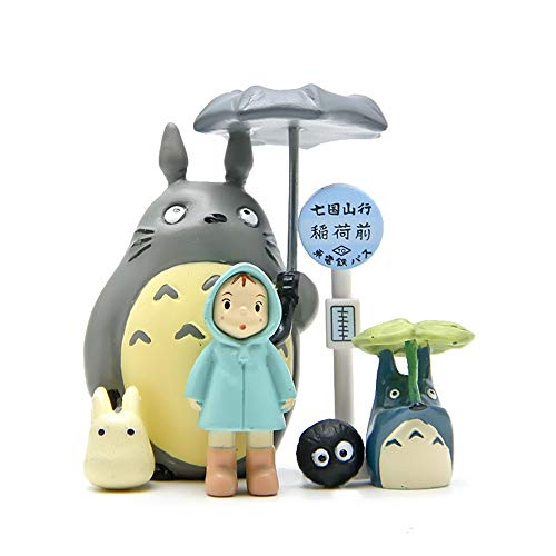 6 Pcs Totoro Figurine Set, Miniature Home Fairy Garden Micro Totoro Bus Station Landscape Ornament Decorations - Figures for Crafts and Home Decor