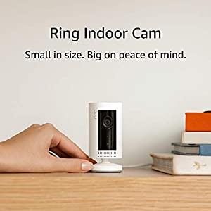 Ring Indoor Cam, Compact Plug-In HD security camera with two-way talk, White, Works with Alexa