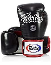 Fairtex Boxing Kickboxing Muay Thai Style Sparring Gloves Training Punching Bag Mitts (10 Oz, Black/White)