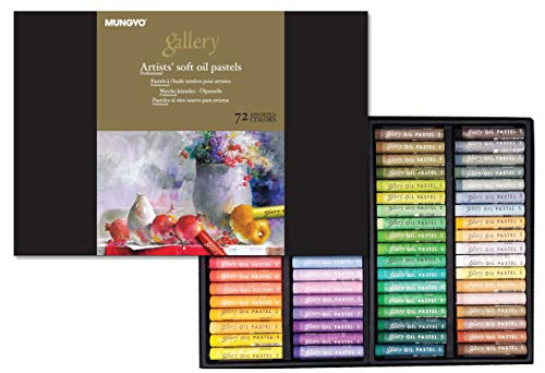 Mungyo Gallery Soft Oil Pastels Set of 72 - Assorted Colors (MOPV-72C), Bundle with 4 finger gloves