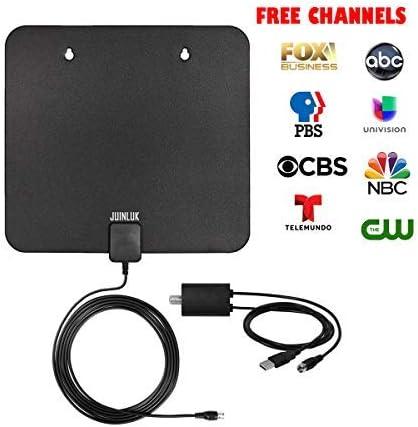 Amplified HDTV Antena Interior, TV Antena para TV Digital Interior 60 Miles Rango con Amplificador de Señal Booster y 10 Ft Cable Coaxial