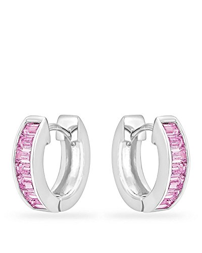 Genuine Rhodium Plated Hoop Earrings with a Channel Set Row of Emerald Cut Pink Ice Color Cubic Zirconia by Kate Bissett (Image #7)