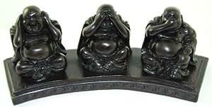 Figuras de Buda tapándose los oídos, la boca y los ojos (6,5 x 18 x 5 cm, resina)