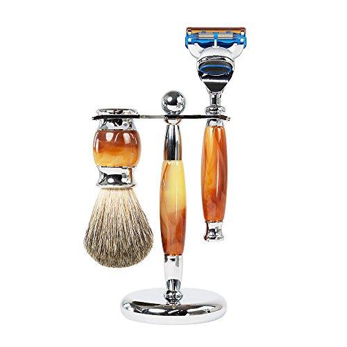 WYZworks 3 Piece Oak Silver Gentleman Shaver Kit Badger Brush Shave Hanger Set