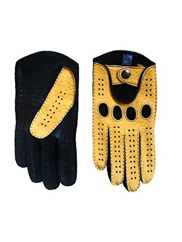 Men's Peccary Driving Gloves Color Black Yellow by Hungant (8.5, Yellow) by Hungant