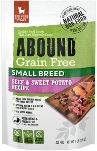 Abound Natural Grain Free Small Breed Dry Dog Food for Dogs in All Life Stages, Beef Sweet Potato, 4 lbs