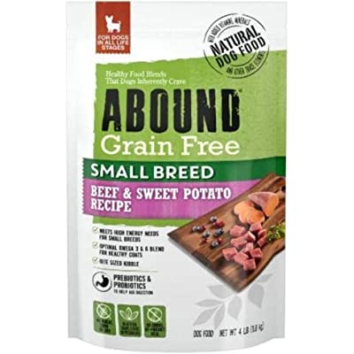 Abound Natural Grain Free Small Breed Dry Dog Food for Dogs in All Life Stages, Beef & Sweet Potato, 4 lbs