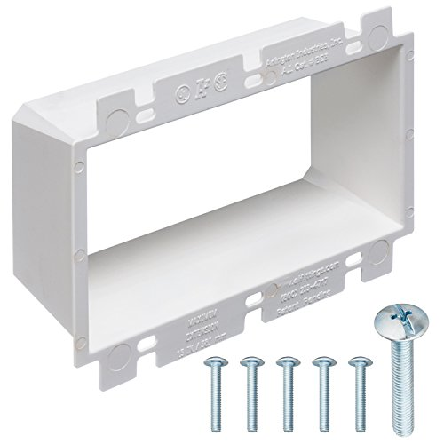 3-Gang Electrical Box Extender with Machine Screws, Complete Kit by DoodleYolk Inc. Junction box extension includes 6-32 truss head screws. Easy and Secure fix for miscut or sunken wall plates.