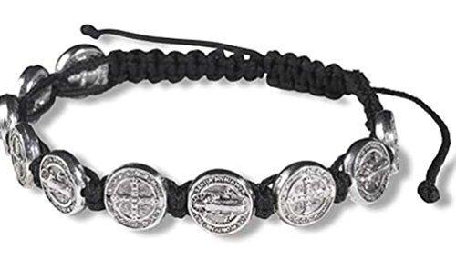 CB Silver Tone Saint Benedict Medal on Adjustable Black Cord Wrist Bracelet, 8 Inch from CB