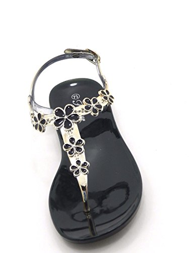 Womens Mode Glanzende Gelei Gladiator Flip Flop Sling Terug Platte Teen Post-riem Sandaal Schoenen Zwart