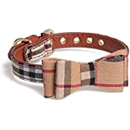 Axgo British Style Plaid Pattern Cute Dog Collar with Bow Tie for Puppy Kitten
