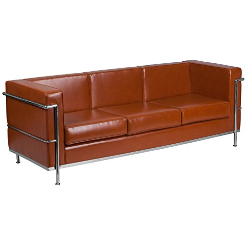 Flash Furniture Hercules Regal Series Contemporary Cognac Leather Sofa with Encasing Frame