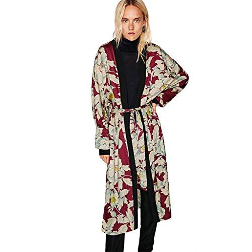 Kimono Lunga Cappotto Moda Outerwear Cardigan Autunno Cardigan Eleganti Mode Unico Bohemian Manica Tempo Moda Fiore marca Lunga Inclusa Sciolto Donna Di di Cintura Stampa Libero Eaa6gSqxpr