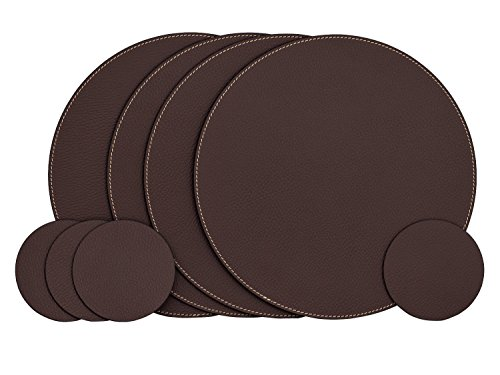 Nikalaz Set of Round Brown Placemats and Coasters, 4 Table Mats and 4 Coasters, Place mats 12.99'' and coasters 3.9'', Italian Recycled Leather, Dining Table (Leather 4 Coaster Set)