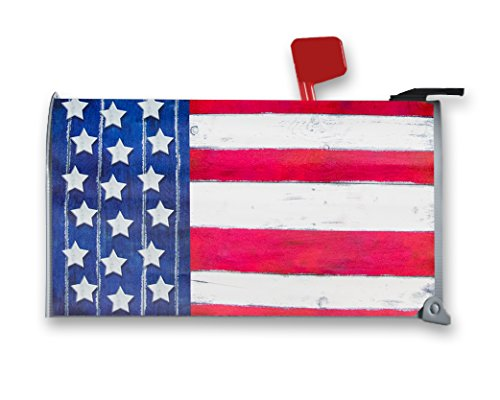 American Flag Mailbox - Magnetic Mailbox Cover - Patriotic Mailbox Wrap with USA American Flag Design for 4th of July, Flag Day, Memorial Day, Includes Adhesive Address Numbers, Standard Sized, 17.25 x 20.75 Inches