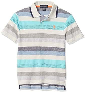 U.S. Polo Assn. Boys 6337 Short Sleeve Heather Stripe Polo Shirt Short Sleeve Polo Shirt - Blue - 2T