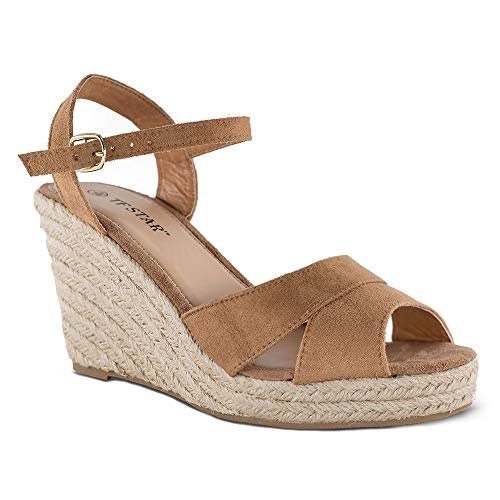 TF STAR Jute Rope Wedge Sandals for Women,Women Platform Summer Shoes Ankle Strap Espadrille Wedge Heel Sandals Tan