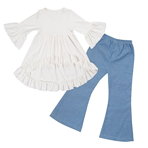 Messy Code Girls Clothes Jeans Outfit Kids Ruffle Shirts Boutique Bell Pants Set (White Ruffle Bottom)