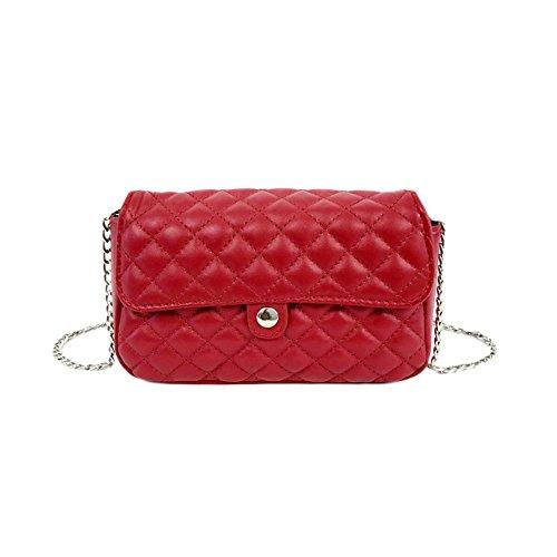 Soft Postman Cross Leather Red Pu Grey Body Bag Waist Bag Chain Women's Shoulder Straps Bag fawAdqzWw