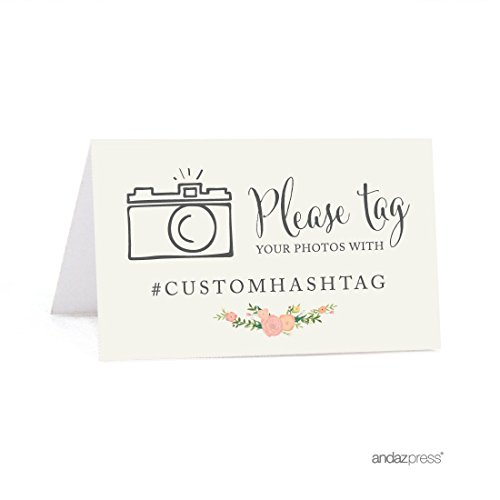 - Andaz Press Personalized Hashtag Table Tent Place Cards, Double-Sided, Floral Roses, 20-Pack, Custom Hashtag for Social Media Instagram Facebook Photo Tagging