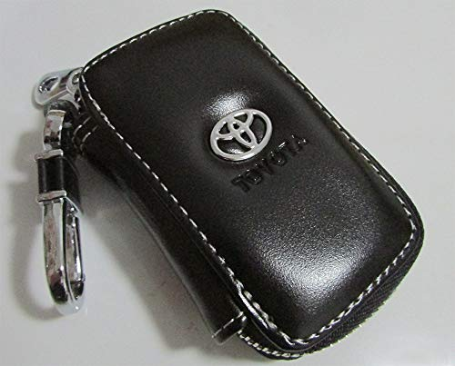 (T-KB Toyota Black Premium Leather Car Key Chain Coin Holder Zipper Case Remote Wallet)