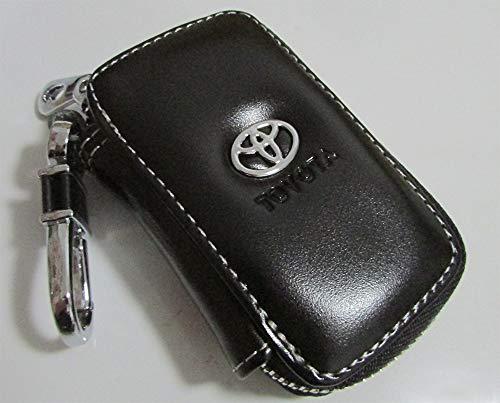(T-KB Toyota Black Premium Leather Car Key Chain Coin Holder Zipper Case Remote Wallet Bag )