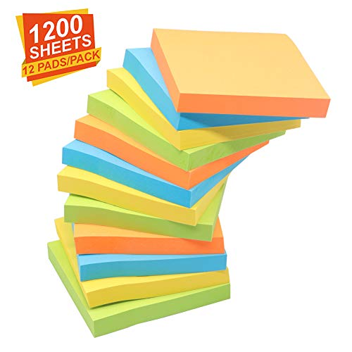 NOMOLOS Sticky Notes, 3 in x 3 in, 12 Pads, 100 Sheets/Pad, 4 Colors Easy Post, Self-Sticky Notes for Office, School, Business, Family