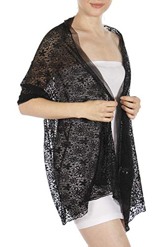 Evening Shawls And Wraps for Dresses, Lightweight Metallic Fishnet Scarf, Lurex diamond fishnet shawl, Flower Black