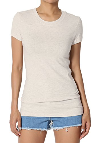 - TheMogan Women's Basic Crew Neck Short Sleeve T-Shirts Cotton Tee Heather Beige XL