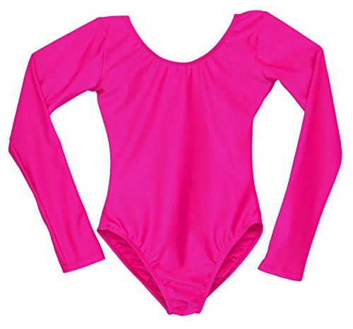 American Dance Theater Child Scoop Neck Long Sleeve Leotard Bright Hot Pink (4-6 Child)]()