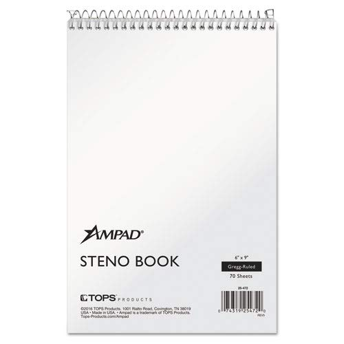 WireLock Steno Book, Gregg, Tan Cover, 15lb White Paper, 70 Pages (36 Pack) by Ampad (Image #1)