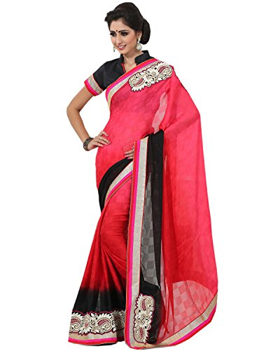 Mohini Sarees Women's Georgette Jacquard Shaded Saree 6.3 Meters Red & Black