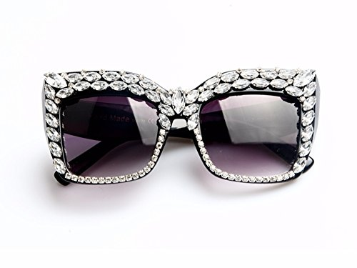 Women Sunglasses Fashion Bling Rhinestones Vintage Shades Ladies Oversize Men Sunglasses Brand - Virtual Sunglasses