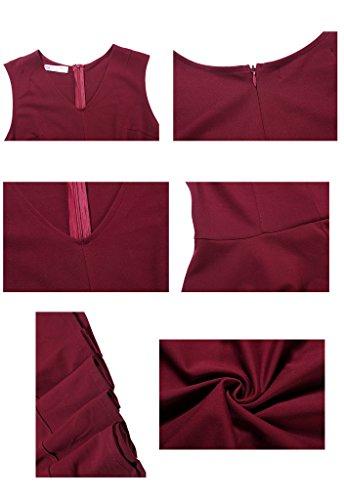 Red1 Pannello Plissettato Bagliore Da Una Di Vino Linea Buenos Vestito Maglia Partito Donne Maniche Ninos Alle Breve UxHtUqa
